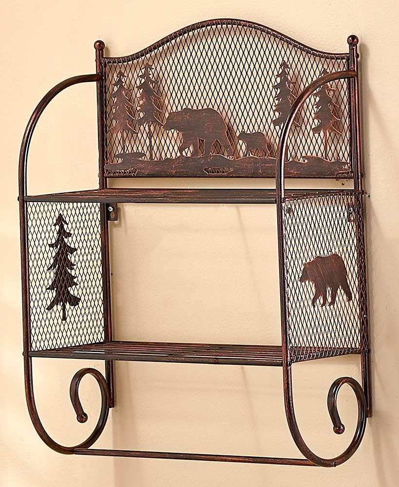Bronze Metal BEAR Wall Shelf Towel Rod Rack Storage Organizer Lodge ...