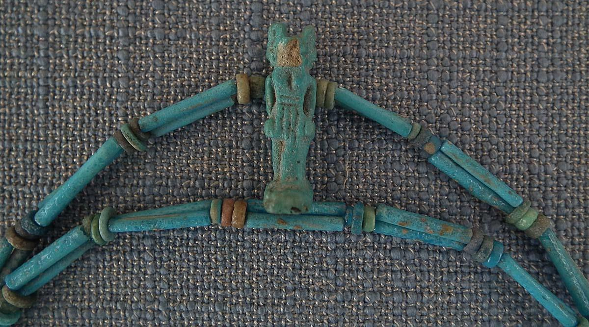 Ancient Egyptian Blue Faience Necklace With God Anubis Amulet 1550-332 B.C. 6