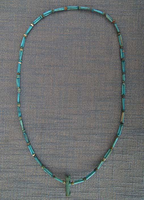 Ancient Egyptian Blue Faience Necklace With God Anubis Amulet 1550-332 B.C. 3