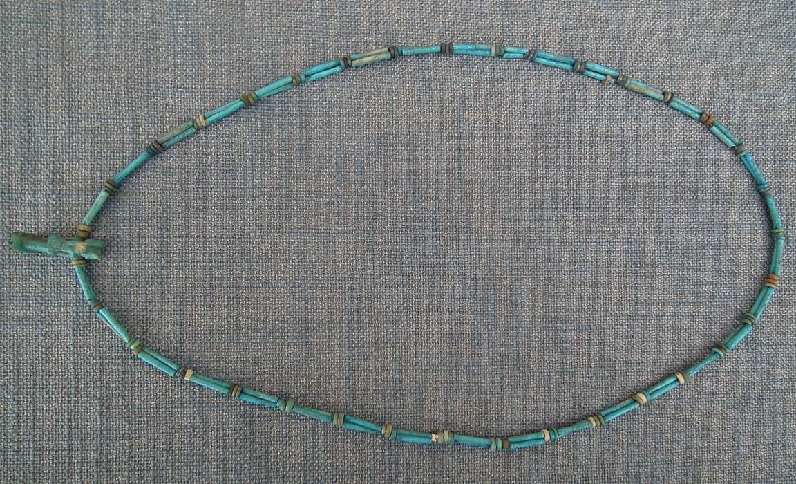 Ancient Egyptian Blue Faience Necklace With God Anubis Amulet 1550-332 B.C. 5