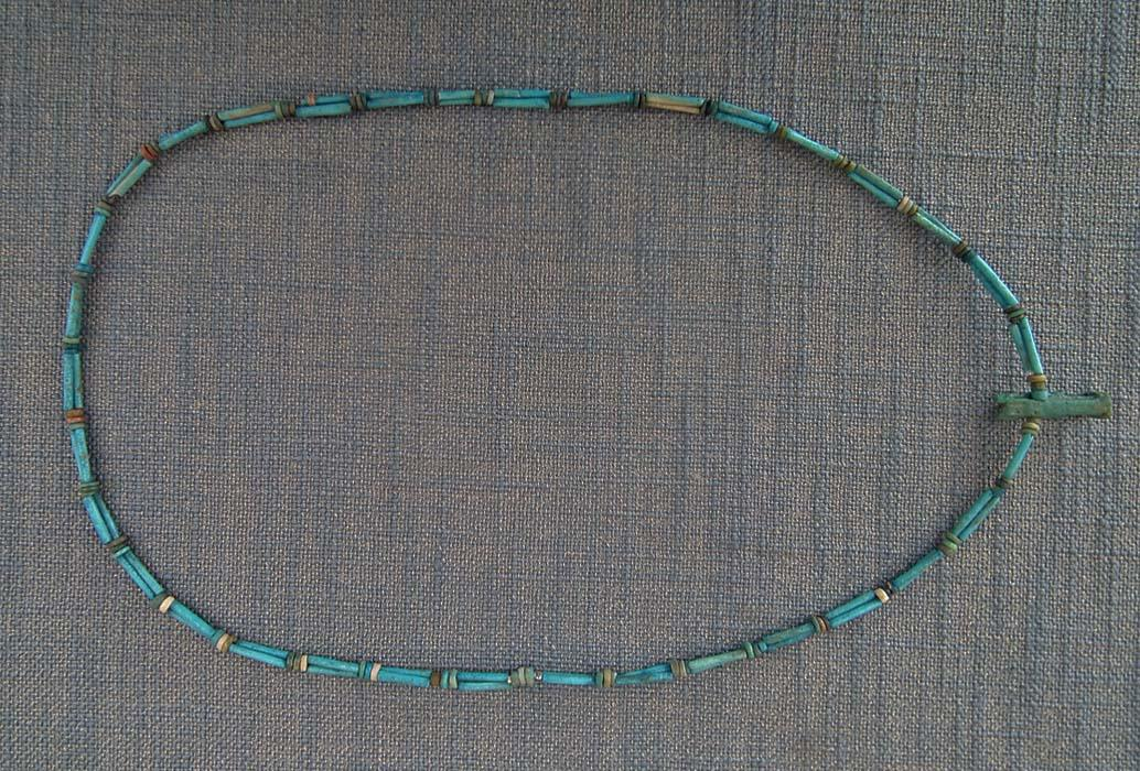 Ancient Egyptian Blue Faience Necklace With God Anubis Amulet 1550-332 B.C. 4