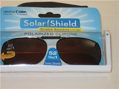 1fd3c369c6 FOSTER GRANT SOLAR SHIELD CLIP-ON POLARIZED SUNGLASSES 52 RECTANGULAR