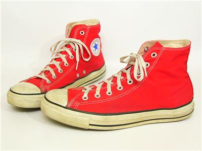 VINTAGE CONVERSE ALL Star Chuck Taylor High Tops Orange Made In The Usa Shoes 9