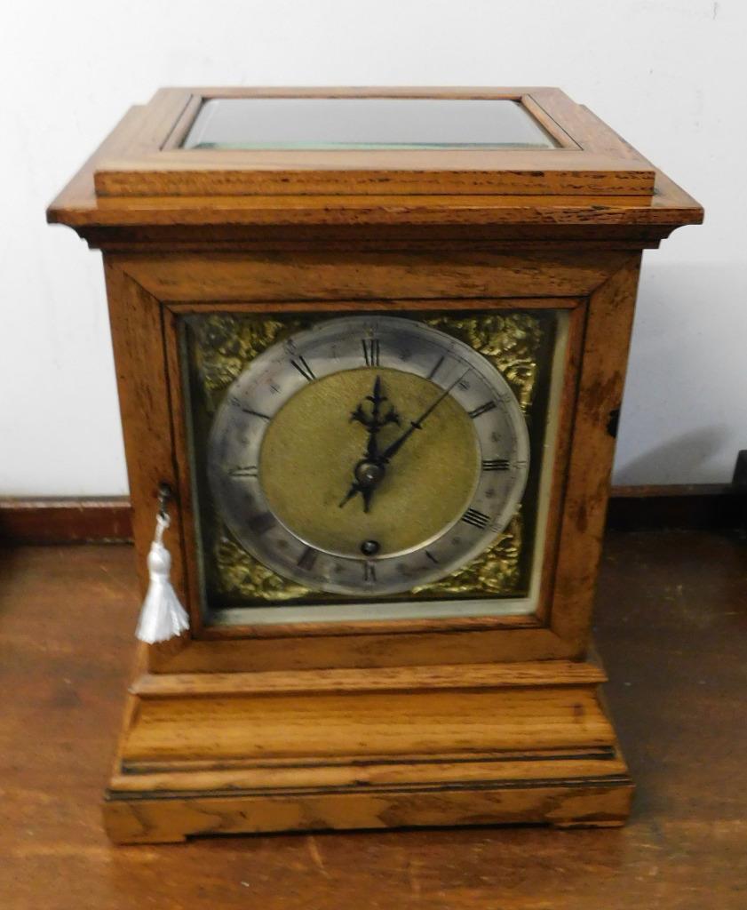winterhalder & hoffmeir oak cased 4 glass libary clock 2