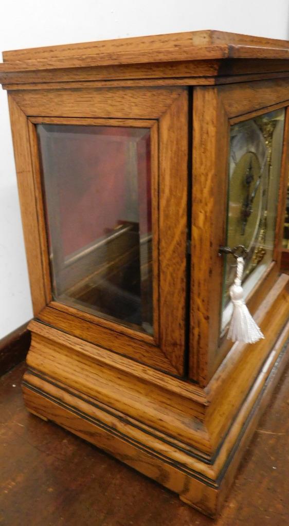 winterhalder & hoffmeir oak cased 4 glass libary clock 4