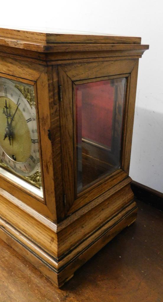 winterhalder & hoffmeir oak cased 4 glass libary clock 3