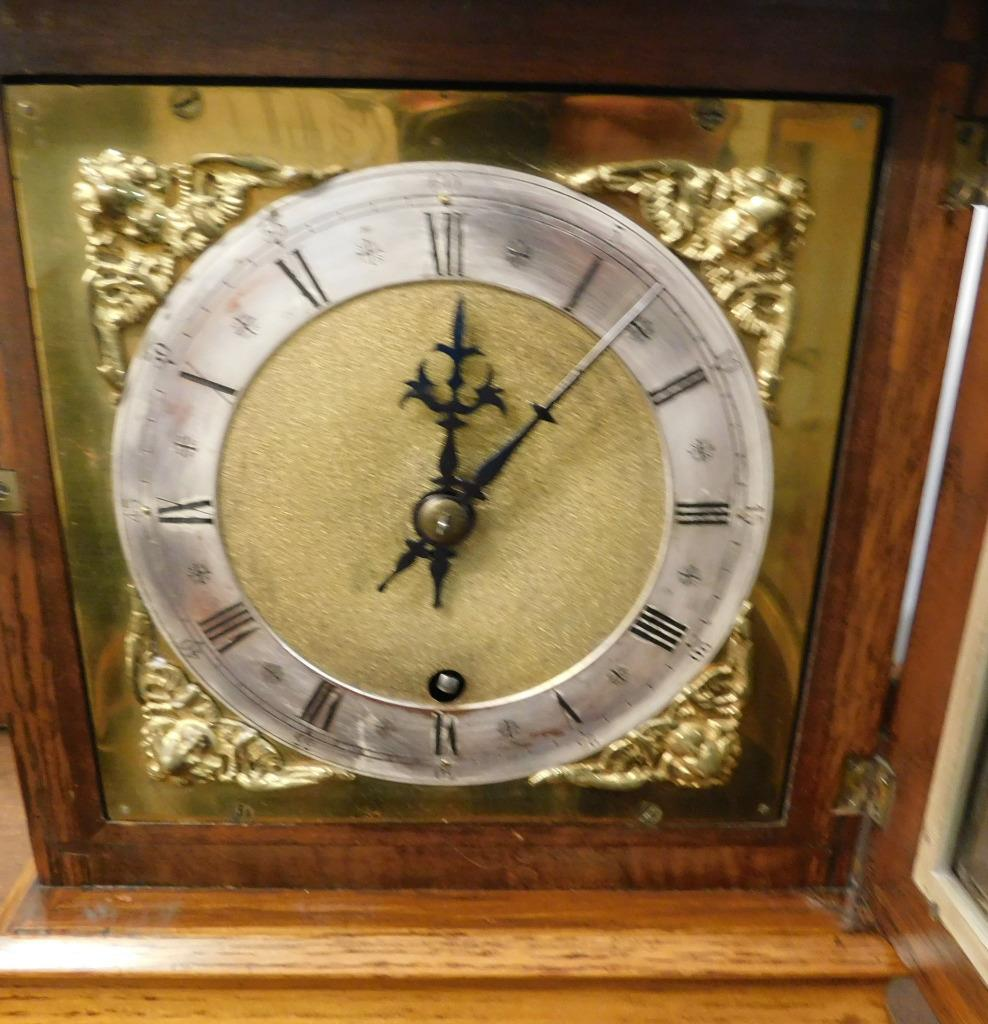 winterhalder & hoffmeir oak cased 4 glass libary clock 6