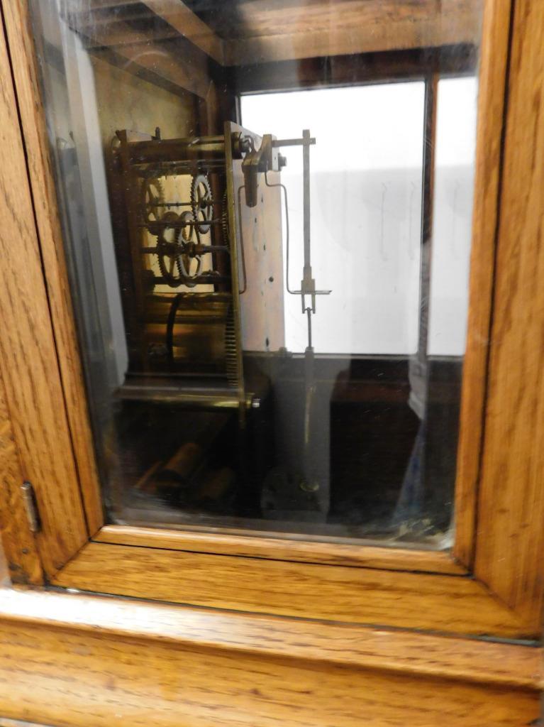 winterhalder & hoffmeir oak cased 4 glass libary clock 7