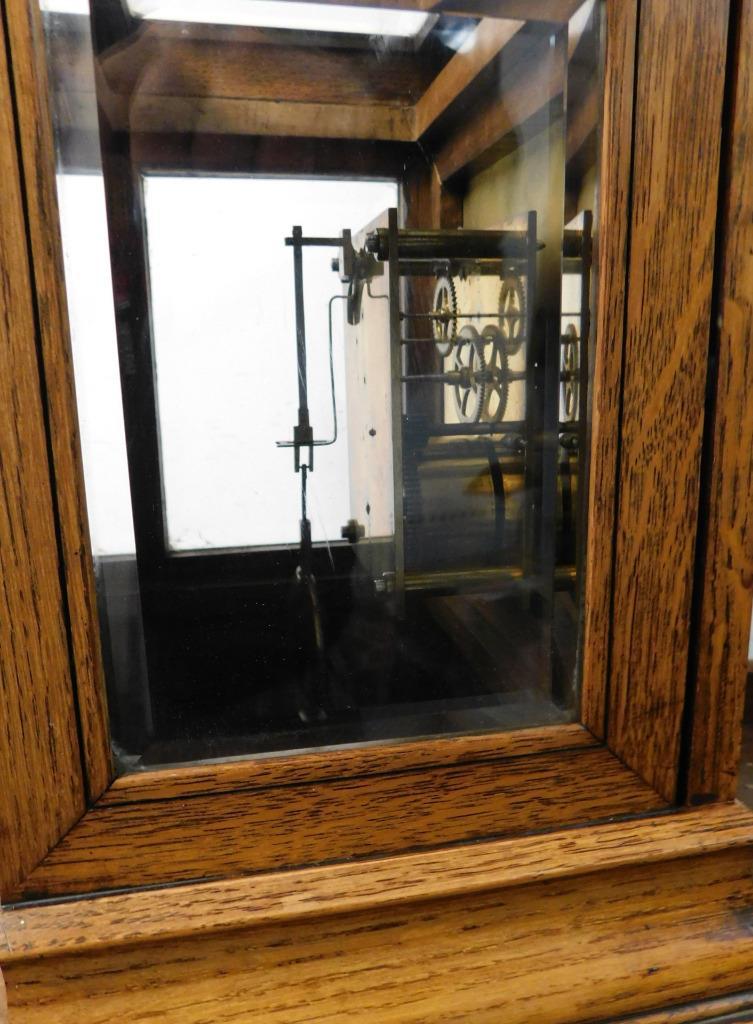 winterhalder & hoffmeir oak cased 4 glass libary clock 8