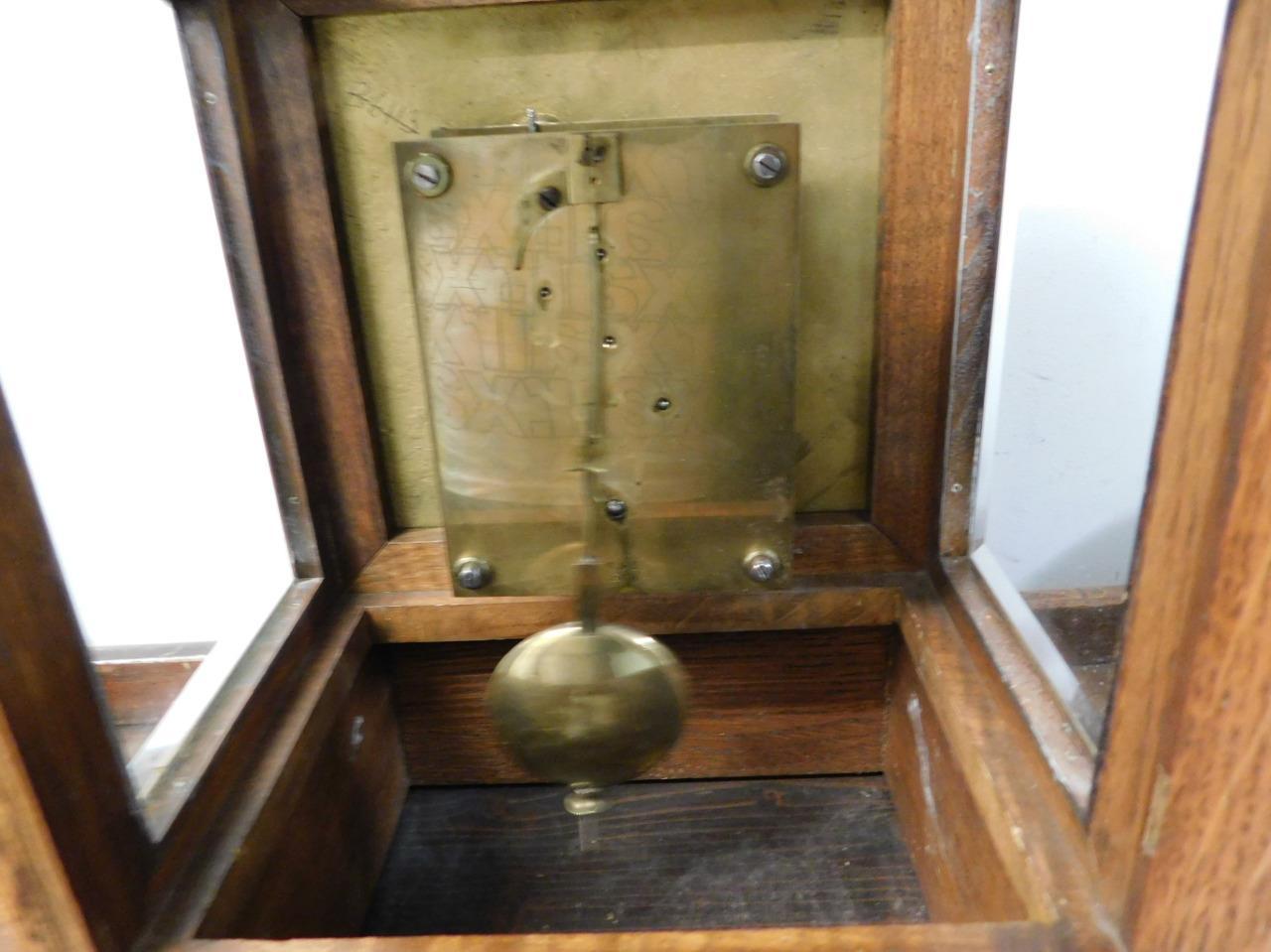 winterhalder & hoffmeir oak cased 4 glass libary clock 10