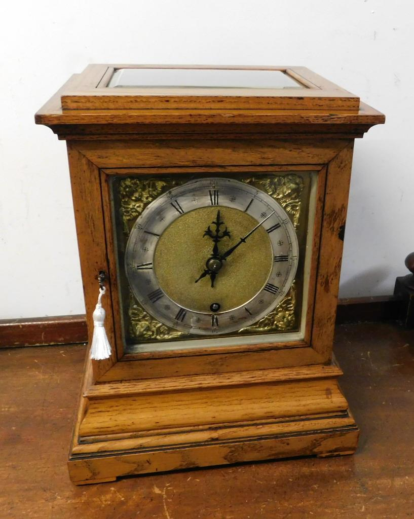winterhalder & hoffmeir oak cased 4 glass libary clock