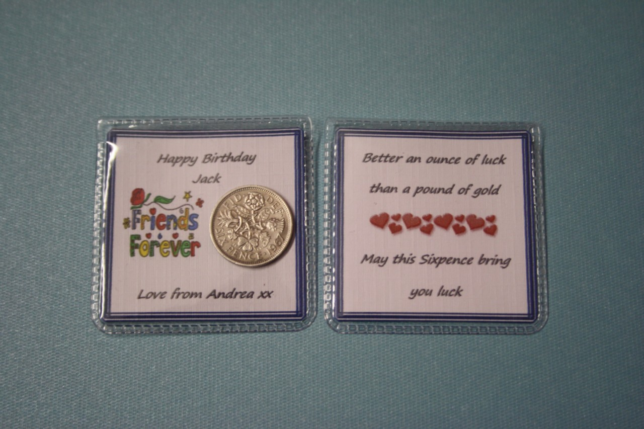 Male Personalised Hy Birthday Lucky Sixpence Best Friend