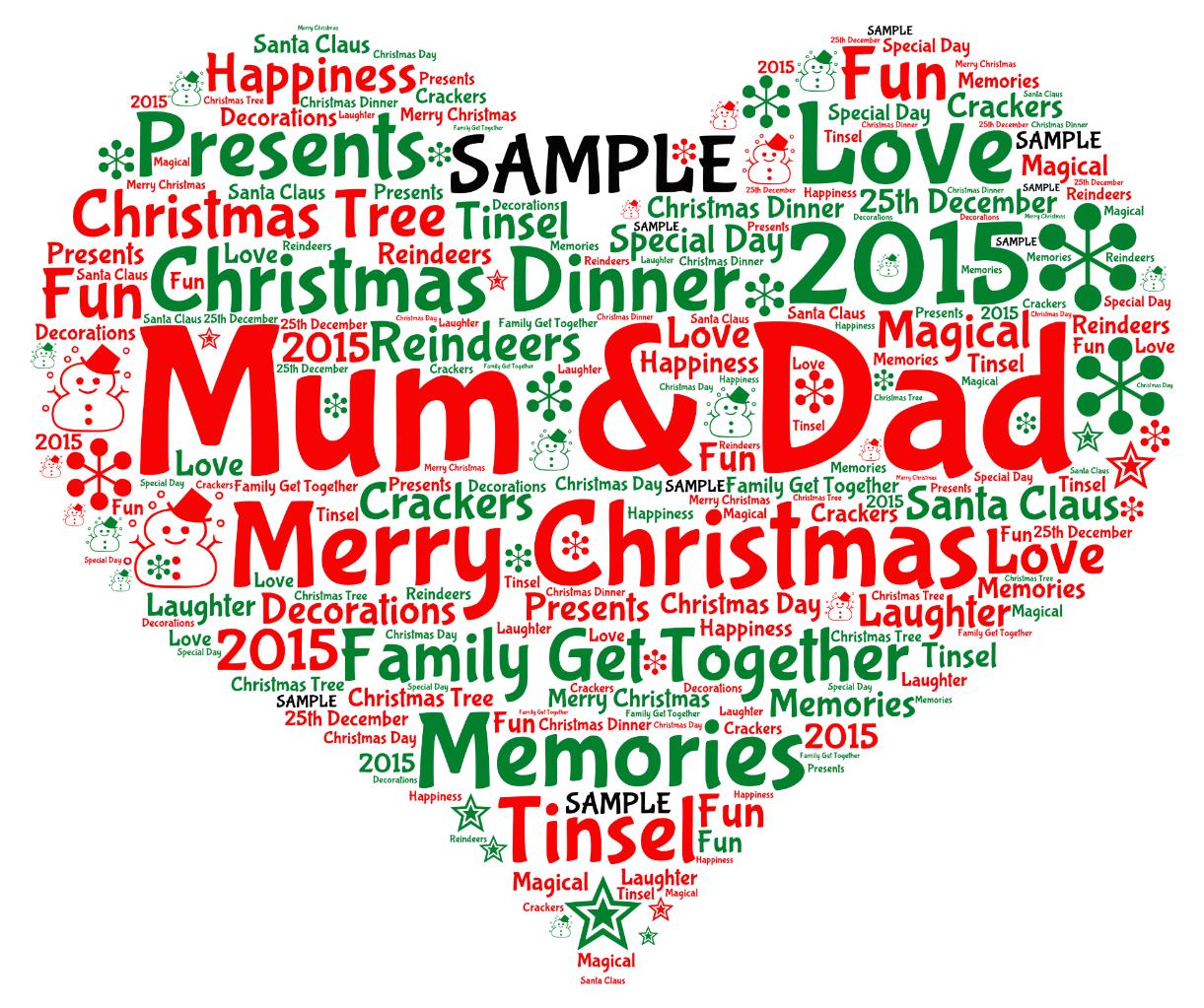 Personalised Christmas Mum Dad Mummy Heart Wordart Print