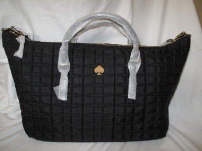NWT KATE SPADE BLACK QUILTED SIGNATURE LARGE TRAVEL RILEY WEEKEND BAG