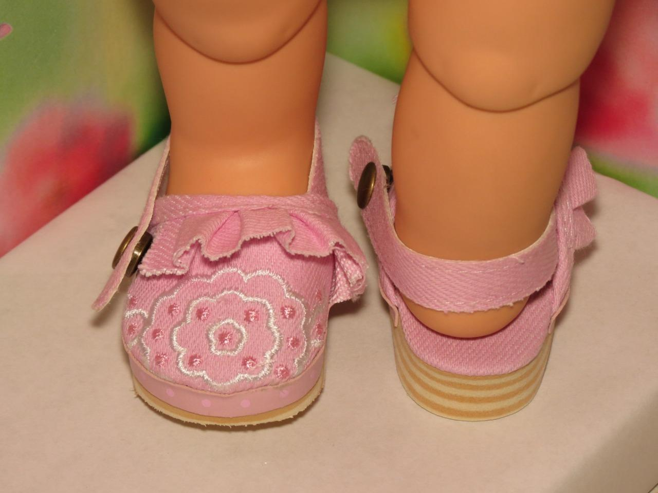 SHOES TO FIT THE AMERICAN GALOOB BABY FACE GIRL BURGUNDY FLOWER CUT