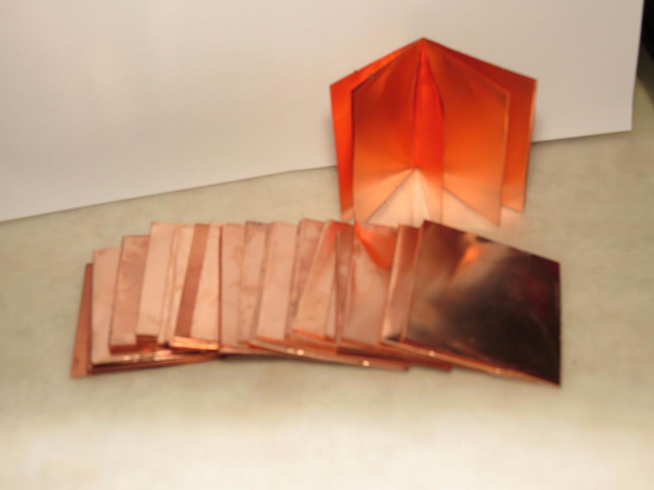 """Copper Squares 1-1//4/"""" Sheet  Jewelry Blanks Art Steampunk qty 5 pieces"""
