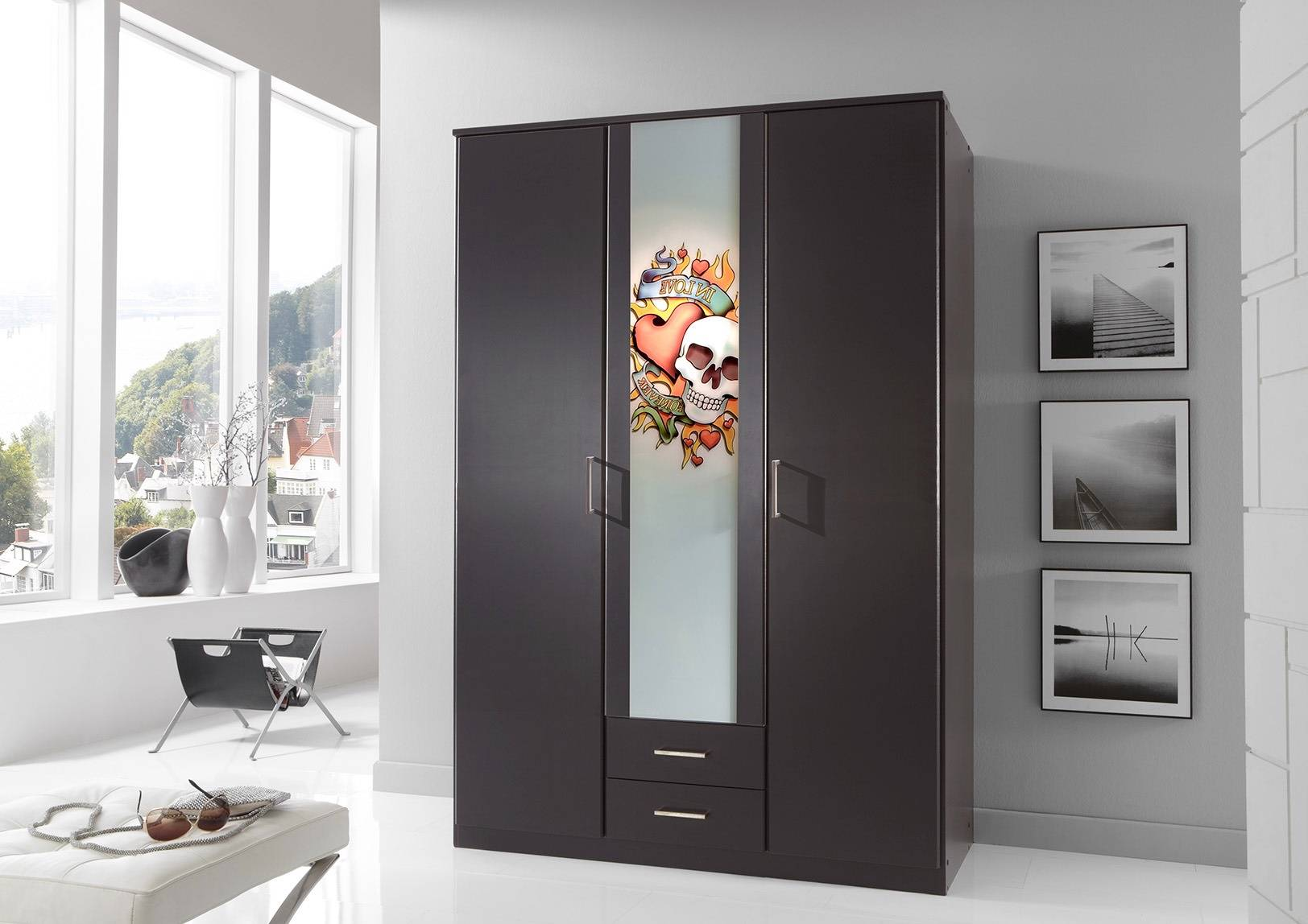 door wardrobe with drawers german designer 3 door 135cm with mirror 4