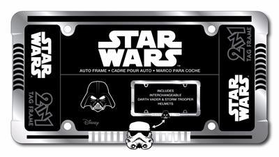 Delightful Star Wars Darth / Stormtrooper Heavy Duty Black Metal Auto License Plate  Frame
