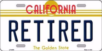 Retired California State Background Novelty Metal License Plate Auto Tag Sign