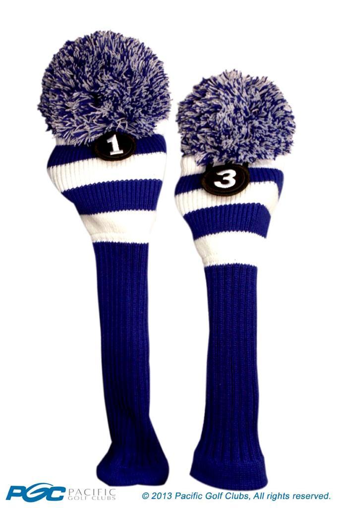 1 3 Classic Blue White Knit Pom Golf Club Headcover Head Covers Set Colors Ebay