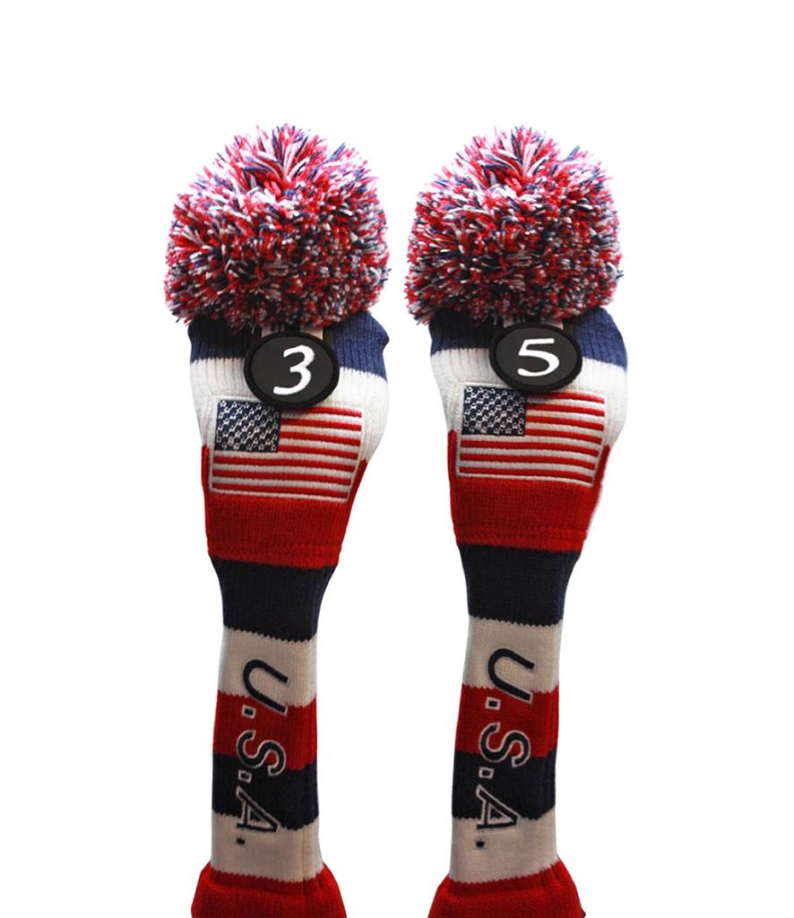Usa Golf Fairway Headcover 3 5 Red White Blue Knit Head Covers Headcovers Ebay