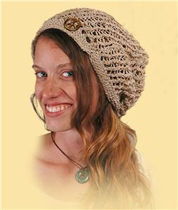 ed570020c3c8f Hippie Boho Festival Handmade Nepal Knit Hemp and Cotton Peace Head Sock Hat