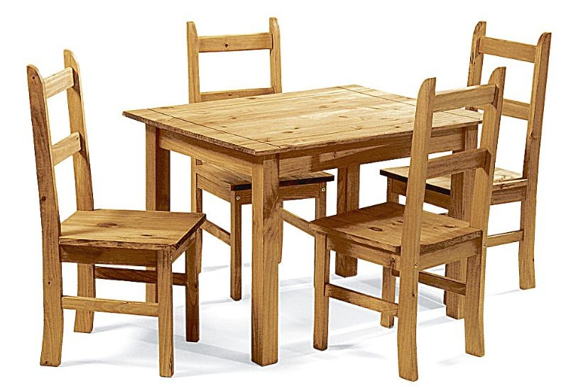 CORDOBA DINING PINE DINING SET 4 CHAIRS DINING TABLE