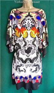 New DESIGUAL Butterfly GIJON Kaftan Beach-to-Bar Short Tunic DRESS Uk 8 10 12 14