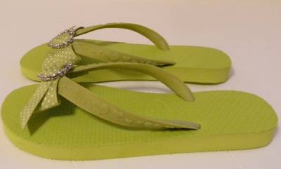 c2034645419f19 Jamie Krietman Flip Flips Sandals Shoe Ribbon Rhinestones   NEW Small 7 - 8