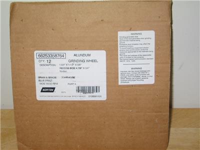 "NEW 12 Norton Blue Print Alundum Grinding Wheels 1-3//4/""x1-1//2/""x3//8/"" 66253358764"