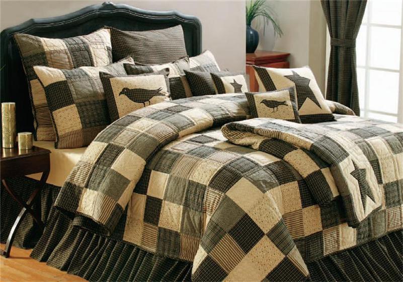 7pc Kettle Grove Primitive Patch Quilt Shams Pillow Cases