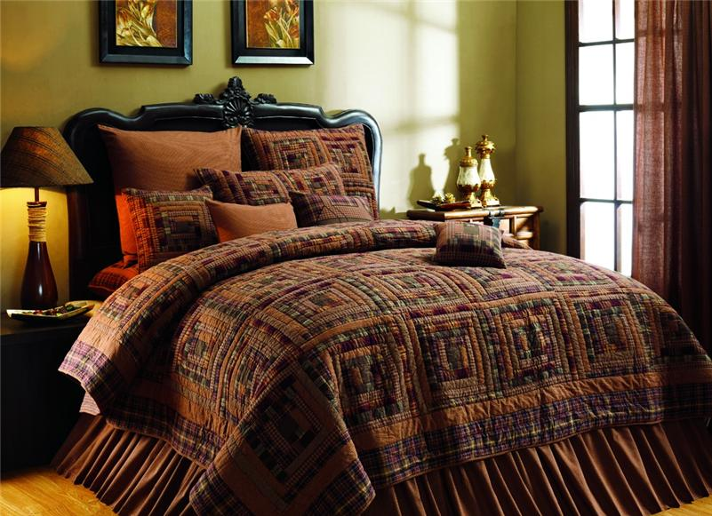 Rustic Country Bedding Sets: VINEYARD PATH RUSTIC CABIN 8PC QUILT BED IN A BAG SET