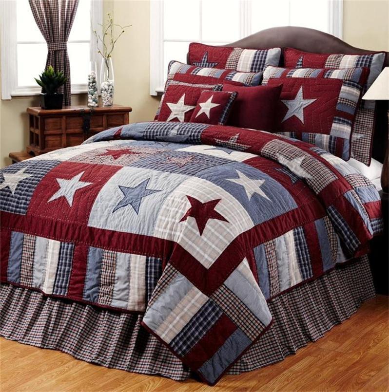 Blue Amp Red Star Primitive Americana 6pc King Quilt Set Ebay