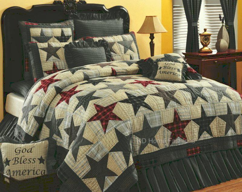America Stars Americana Primitive 4pc Quilt Bedding Set