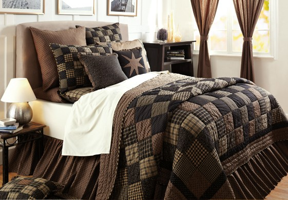 Rustic Country Bedding Sets: 5PC COLFAX PRIMITIVE RUSTIC QUEEN CAL KING QUILT SHAMS