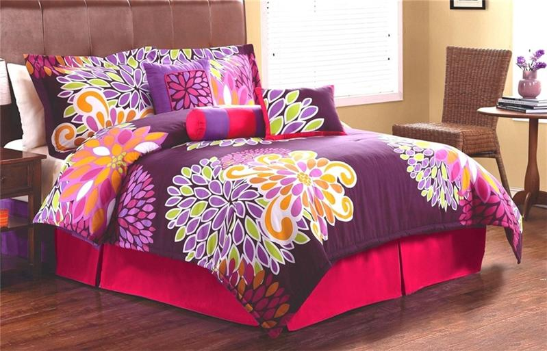 girls teen flowers pink purple twin full queen comforter bedding set ebay. Black Bedroom Furniture Sets. Home Design Ideas