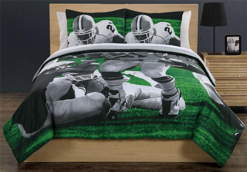 REAL AMERICAN FOOTBALL SPORTS GREEN COMFORTER SHAMS ...
