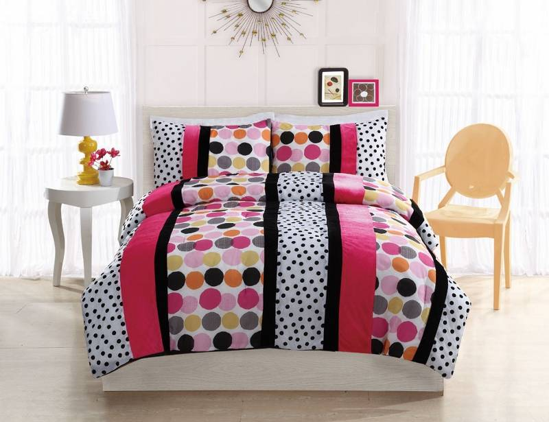 teen girl modern hot pink black white polka dots twin full comforter bed set ebay. Black Bedroom Furniture Sets. Home Design Ideas
