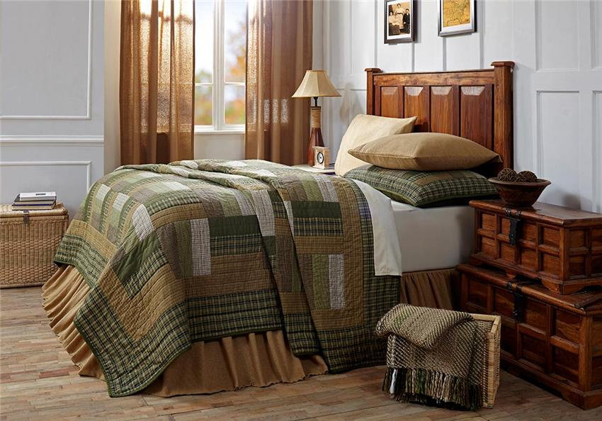 7PC MONTGOMERY CABIN PRIMITIVE GREEN QUILT SHAMS SKIRT