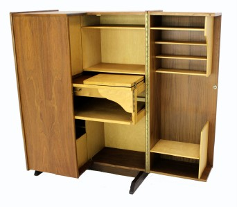 Danish Modern Teak Folding Desk File Cabinet Secretary Ebay