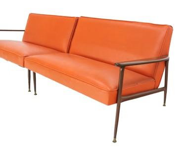 Mid Century Modern Sectional Vintage Orange Vinyl Sofa And