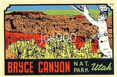 Bryce Canyon National Park Utah Vintage Style Decal Vinyl Sticker,Luggage Label