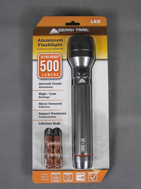 Brand New Ozark Trails OT500L Aluminum LED Flashlight