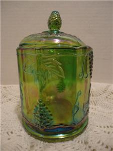 INDIANA GLASS RARE VINTAGE HARVEST GRAPE GREEN CARNIVAL GLASS CANISTER