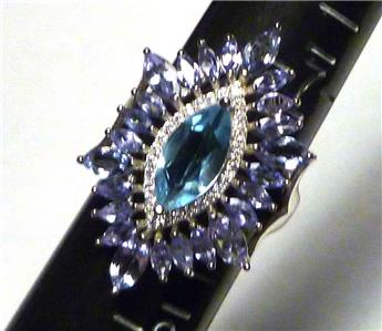 American Seller AR743 Natural Blue Topaz Gemstone /& CZ 925 Sterling Silver Ring WOW Topaz Ring Free Shipping