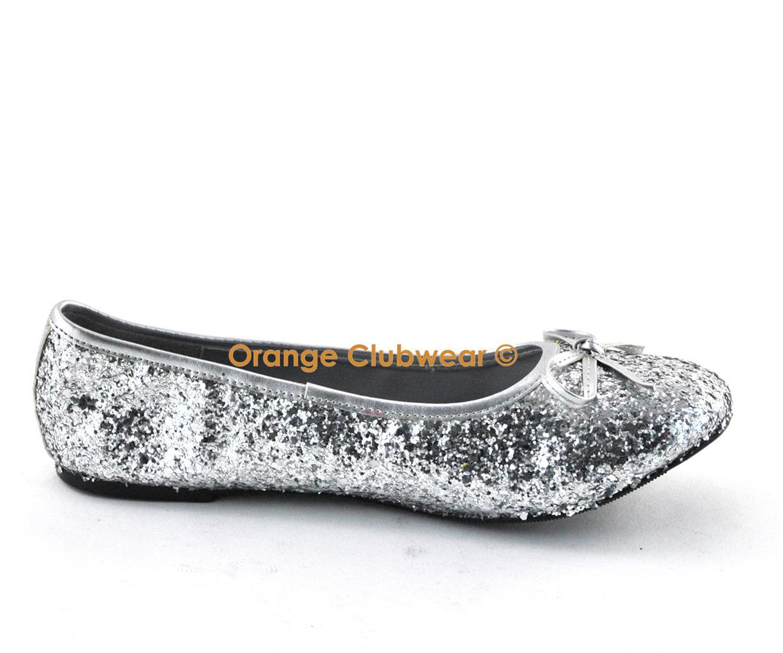 PLEASER Star 16g Women's Silver Glitter Flats Shoes | eBay