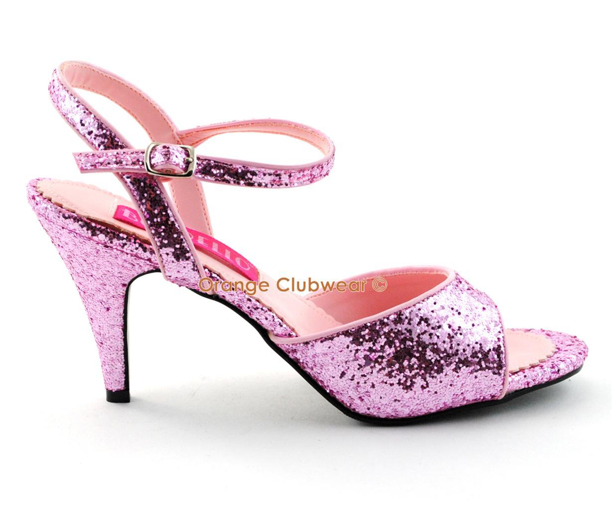 "BORDELLO Womens Pink Glitter 3"" High Heels Sexy Shoes | eBay"