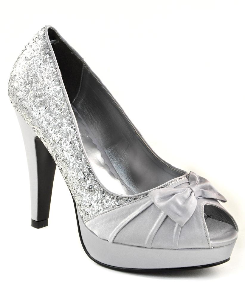 Pinup Womens Silver Glitter Satin High Heels Evening Party