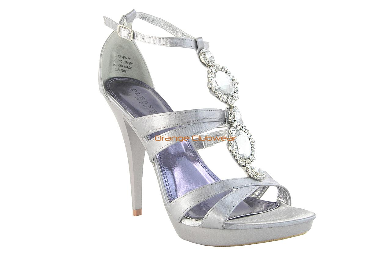 PLEASER Strappy Silver Satin Rhinestone Sexy Stiletto T ...
