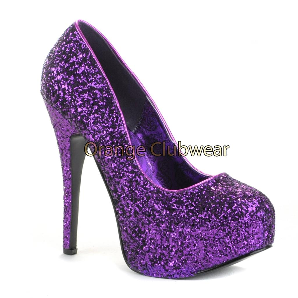 Bordello Sexy Hidden Platform Purple Glitter High Heels